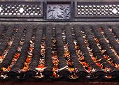 Ancient Chinese House Roof Birds Designs Autumn Leaves West Lake Hangzhou Zhejiang China