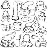 Women's handbags. Hand drawn Vector Set 1.