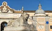Fountain In The Shape Of A Reclining Lion, Piazza Del Popolo, Rome
