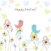 Colorful easter background with birds sitting on the flowers