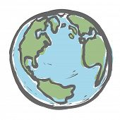 stock photo of freehand drawing  - Hand drawn earth - JPG