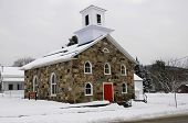 Olivet Baptist Church in winter Sutton, Quebec, Canada