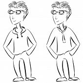 Young Casual And Formal Male Character Sketch