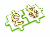 Pound sterling and yen symbols.