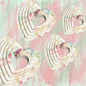 foto of decoupage  - abstract paint splatter decoupage floating hearts wallpaper - JPG