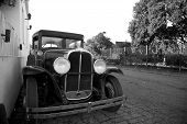 picture of grayscale  - Black and White Image of Antique Car in Colonia del Sacramento Uruguay - JPG
