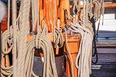 Masts And Ropes Of A Large Sailing Ship