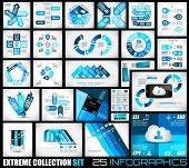 Extreme Collection of 25 quality Infographics background. A lot of different templates ready to disp
