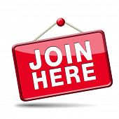 Join us here and now banner or registration for membership icon or sign. Do it today and become a me