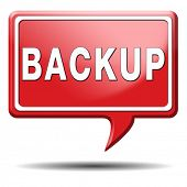 Backup data and software on copy in the cloud on a harddrive disk on a computer or server for files