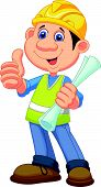 Cartoon Construction worker repairman