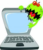 Cartoon Laptop attacking by virus