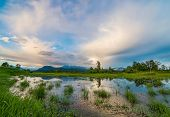 Marsh With Mountain And Amazing Clouds