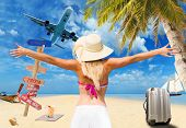 Woman on the tropical beach Travel concept