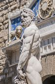 stock photo of hercules  - Hercules and Cacus statue by Baccio Bandinelli in front of the Palazzo Vecchio at Piazza della Signoria in Florence Italy - JPG
