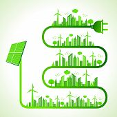 Illustration of ecology concept with solar panel - save nature