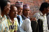 Nepalese people resting in Durbar square. Patan, Kathmandu