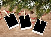 image of fir  - Blank christmas photo frames with fir tree and decor - JPG