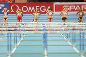 GOTHENBURG, SWEDEN - MARCH 1  Remona Fransen (NL) wins heat 1 of the pentathlon women's 60m hurdles event during the Athletics Indoor Championship on March 1, 2013 in Gothenburg, Sweden.