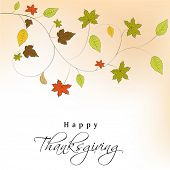 Happy Thanksgiving Day background with colorful maple leaves, can be use as banner, flyer or poster.