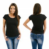 Sexy Woman Posing With Blank Black Shirt