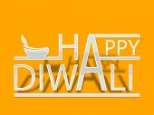 Stylish Happy Diwali paper text on bright yellow background with illustration of oil lit lamp, can be use as flyer, banner or poster for Indian festival of lights,
