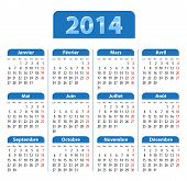 Blue Glossy Calendar For 2014 Year In French