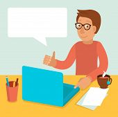 stock photo of programmers  - Vector character wearing glasses and working on his laptop in flat retro style - JPG