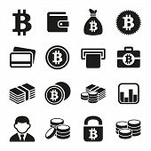 stock photo of bitcoin  - Bitcoin crypto money icons set - JPG
