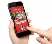 image of qr-code  - isolated woman hand holding the phone with with mobile wallet onlain shopping on the screen - JPG