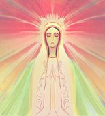 stock photo of blessed  - Blessed Virgin Mary portrait on abstract background  - JPG
