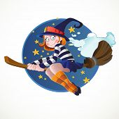 Little witch flying on the broomstick