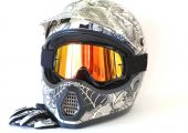 stock photo of motocross  - Closeup of a white motocross helmet goggles and gloves isolated on white background - JPG