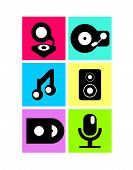 Vector neon colored music icons, flat design