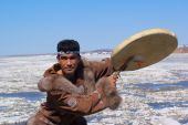 picture of chukotka  - Chukchi man in folk dress dancing a folk dance - JPG