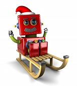 stock photo of luge  - Happy Santa Claus robot on wooden sled over white background - JPG