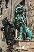 stock photo of munich residence  - Bavarian lion statue at Munich Alte Residenz palace in Odeonplatz - JPG