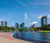 stock photo of klcc  - Skyline of Central Business District of Kuala Lumpur - JPG