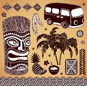 stock photo of tiki  - Set of Vintage Tiki design elements for your business - JPG
