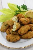 stock photo of cod  - salt cod fritters - JPG