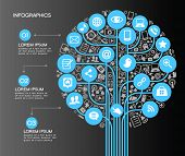 A modern set of infographics and icons Social Media. Icons of network and technology in the form of