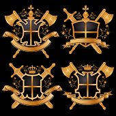 stock photo of armorial-bearings  - Vector coat of arms isolated on black background - JPG