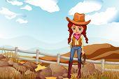 Illustration of a pretty cowgirl near the rocks