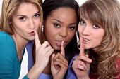 stock photo of tell lies  - Friends with a secret - JPG
