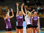 KAPOSVAR, HUNGARY - SEPTEMBER 20: Ujpest players celebrate at the Hungarian I. League volleyball gam