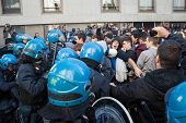 Secondary school students clash with police in Milan, Italy