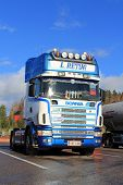 Sunlight On Blue And White Scania Truck In Autumn