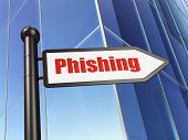Privacy concept: Phishing on Building background