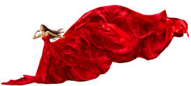 pic of flutter  - Woman in Red Dress with Flying Fabric - JPG