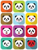 stock photo of panda  - Panda bear flat emotions icons set with long shadows - JPG